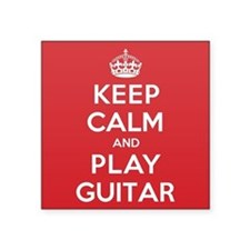 "Keep Calm Play Guitar Square Sticker 3"" x 3"""