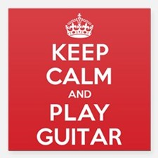 "Keep Calm Play Guitar Square Car Magnet 3"" x 3"""