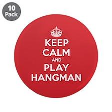 "Keep Calm Play Hangman 3.5"" Button (10 pack)"