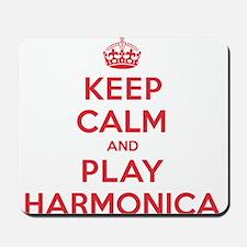 Keep Calm Play Harmonica Mousepad