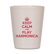 Keep Calm Play Harmonica Shot Glass