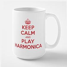 Keep Calm Play Harmonica Large Mug