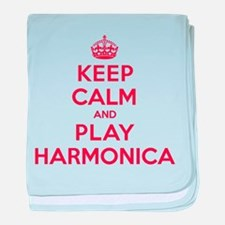 Keep Calm Play Harmonica baby blanket