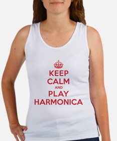 Keep Calm Play Harmonica Women's Tank Top