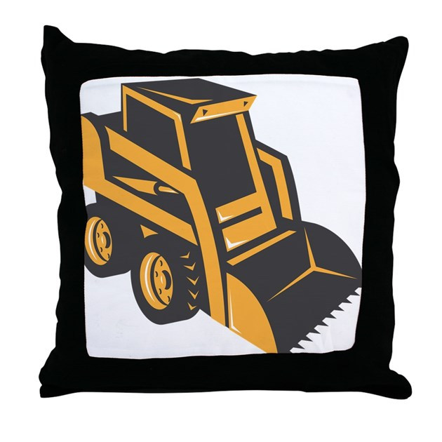 Skid Steer Digger Truck Throw Pillow By Retrovectors