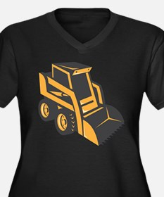 skid steer digger truck Women's Plus Size V-Neck D