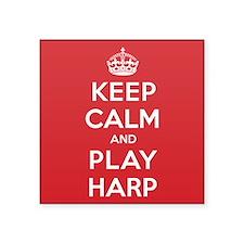"Keep Calm Play Harp Square Sticker 3"" x 3"""