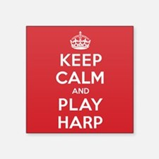 "Keep Calm Play Harp Square Sticker 3"" x 3"""