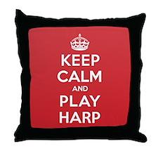 Keep Calm Play Harp Throw Pillow