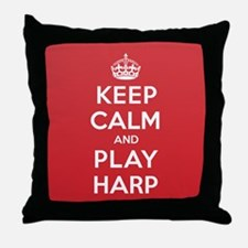Keep Calm Play Harp Throw Pillow
