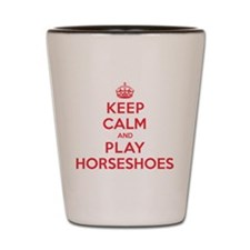 Keep Calm Play Horseshoes Shot Glass