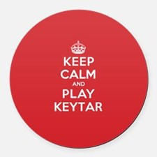 Keep Calm Play Keytar Round Car Magnet