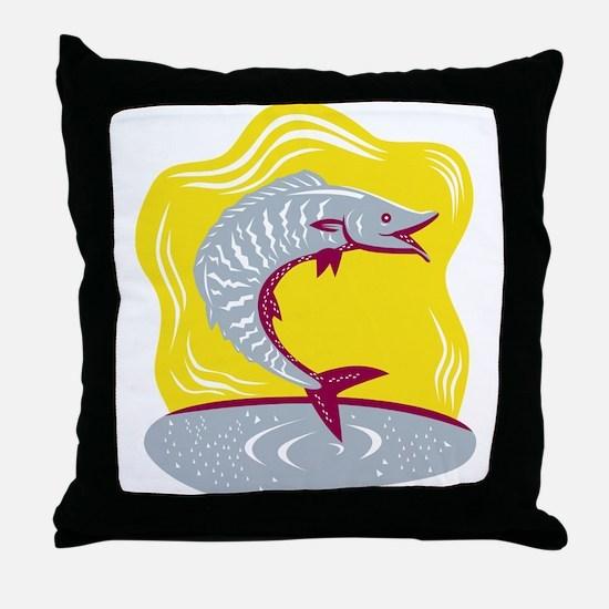 Wahoo Fish Jumping Retro Throw Pillow