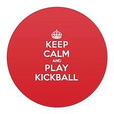 Keep Calm Play Kickball Round Car Magnet