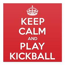 "Keep Calm Play Kickball Square Car Magnet 3"" x 3"""