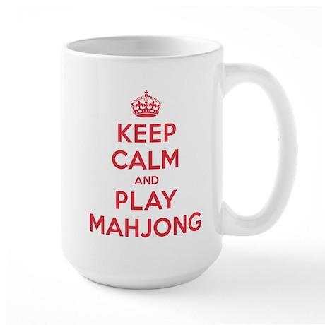 Keep Calm Play Mahjong Large Mug