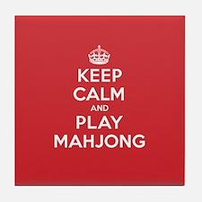 Keep Calm Play Mahjong Tile Coaster