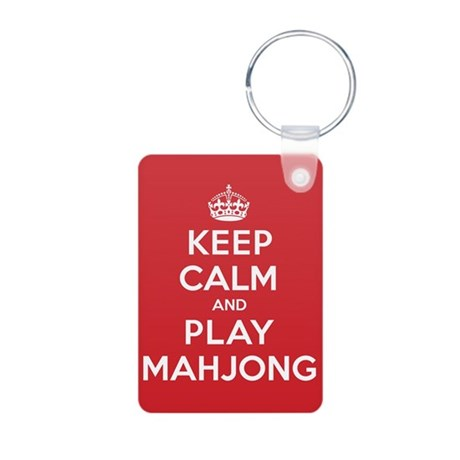 Keep Calm Play Mahjong Aluminum Photo Keychain