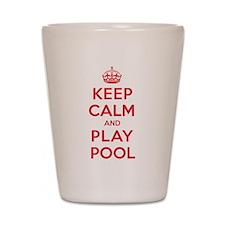 Keep Calm Play Pool Shot Glass
