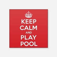 "Keep Calm Play Pool Square Sticker 3"" x 3"""