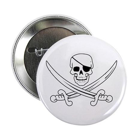 Eyepatch Skull & Crossed Swords Button