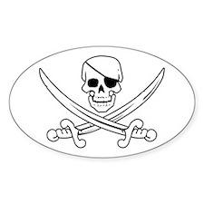 Eyepatch Skull & Crossed Swords Oval Decal
