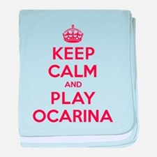 Keep Calm Play Ocarina baby blanket