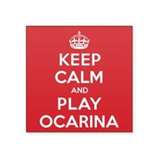 "Keep Calm Play Ocarina Square Sticker 3"" x 3"""