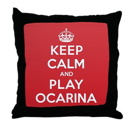 Keep Calm Play Ocarina Throw Pillow