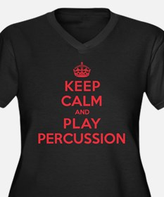 Keep Calm Play Percussion Women's Plus Size V-Neck