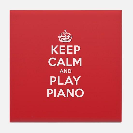 Keep Calm Play Piano Tile Coaster