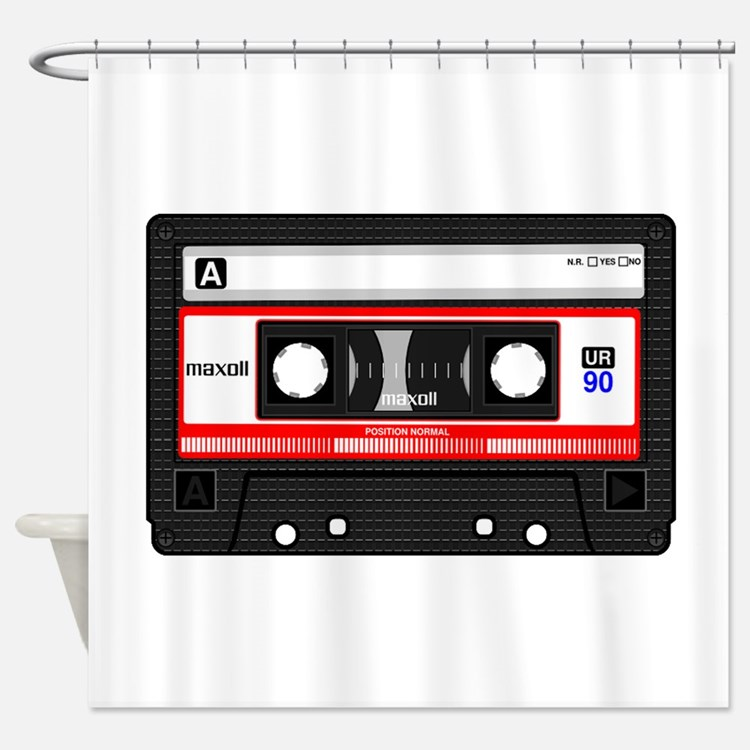 Cassette Black Shower Curtain