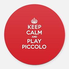 Keep Calm Play Piccolo Round Car Magnet