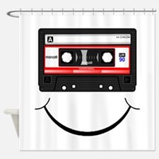 Cassette Smile Black Shower Curtain