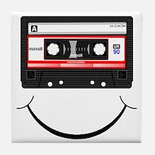 Cassette Smile Black Tile Coaster