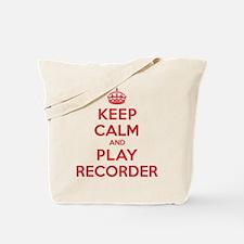 Keep Calm Play Recorder Tote Bag