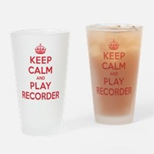 Keep Calm Play Recorder Drinking Glass