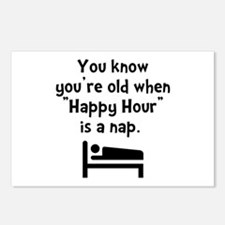 Happy Hour Nap Black Postcards (Package of 8)