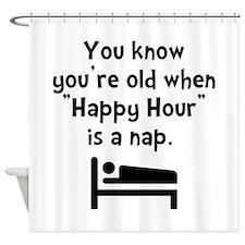 Happy Hour Nap Black Shower Curtain