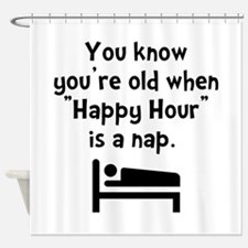 Happy Hour Nap Black Shower Curtain