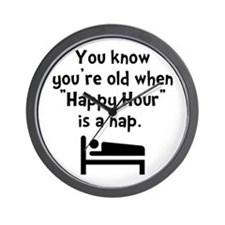 Happy Hour Nap Black Wall Clock