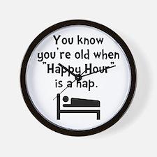Happy Hour Nap Black Wall Clock