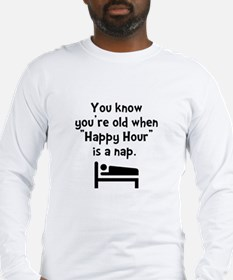 Happy Hour Nap Black Long Sleeve T-Shirt