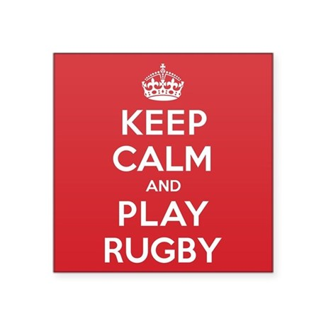 "Keep Calm Play Rugby Square Sticker 3"" x 3"""