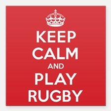 """Keep Calm Play Rugby Square Car Magnet 3"""" x 3"""""""