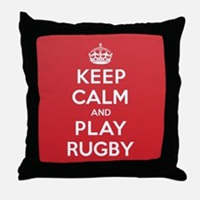Keep Calm Play Rugby Throw Pillow