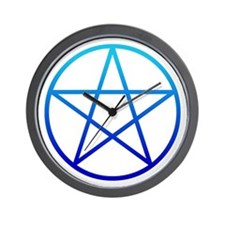 Blue Pentacle Wall Clock