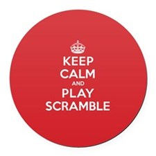 Keep Calm Play Scramble Round Car Magnet