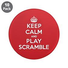 """Keep Calm Play Scramble 3.5"""" Button (10 pack)"""