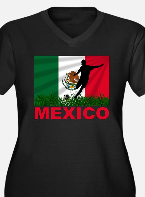Mexico World Cup Soccer Women's Plus Size V-Neck D